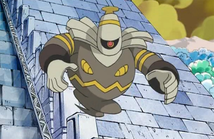Dusknoir ghost style creature, screenshot from the Pokemon anime