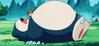 Big Snorlax sleeping in the anime