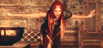 Red haired girl - physics Skyrim mod