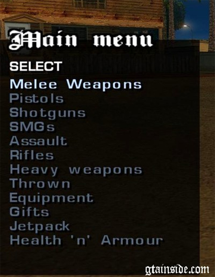 Weapon Menu Mod SA