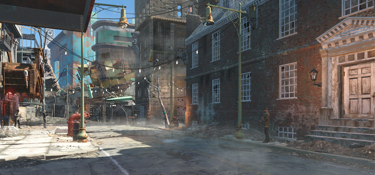 Empty street screenshot - Fog Remover mod for Fallout 4