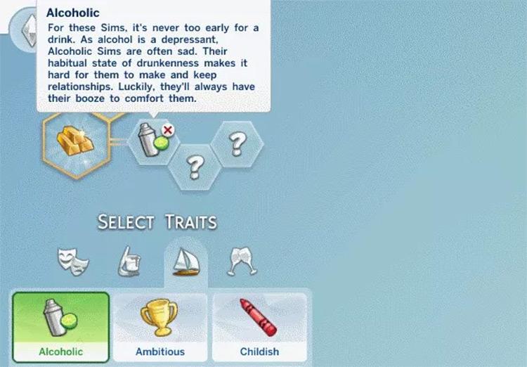 Alcoholic Trait Sims4 mod