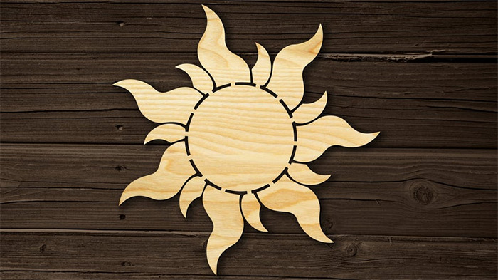 Tangled sun wooden wall art handmade