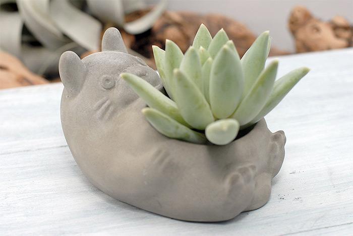 Totoro concrete succulent planter