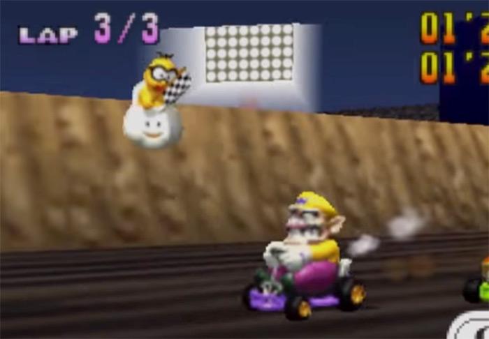 Wario driving in Mario Kart 64