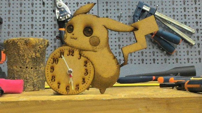 Pikachu shaped clock