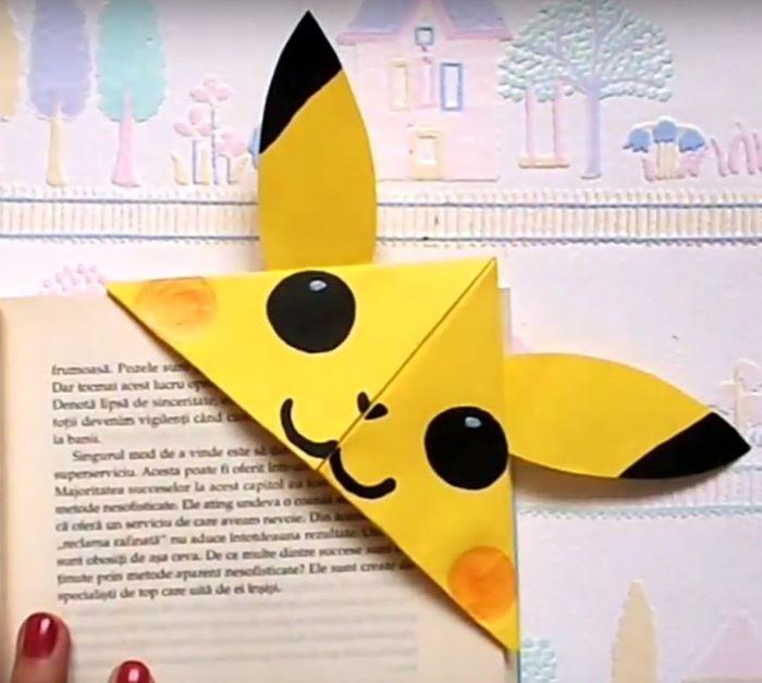 Pikachu design paper bookmark corner