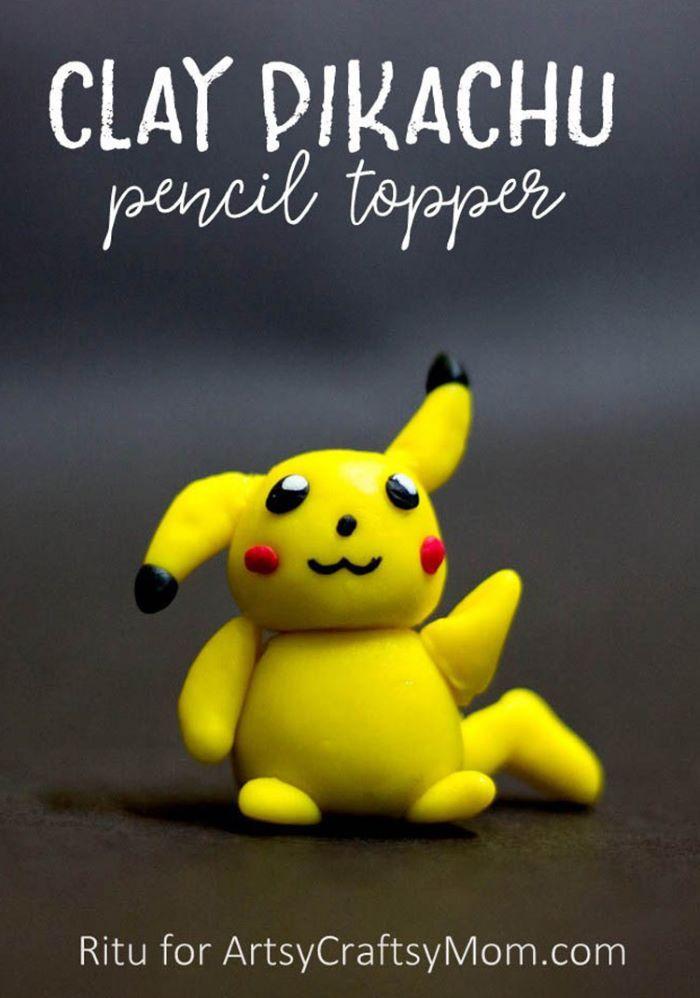 Clay pikachu design pencil topper