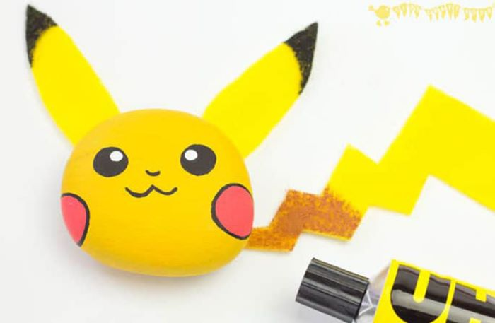 Pebble with pikachu design