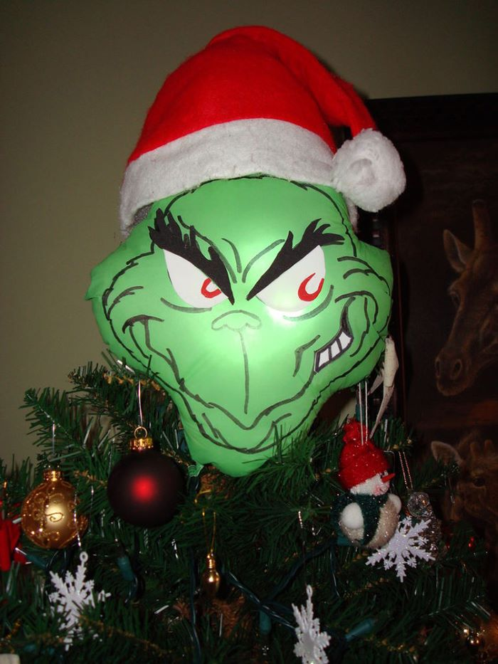 Grinch face tree topper