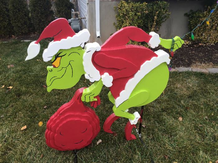 Grinch stole christmas lights decor