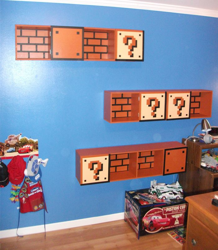 Super Mario themed shelves
