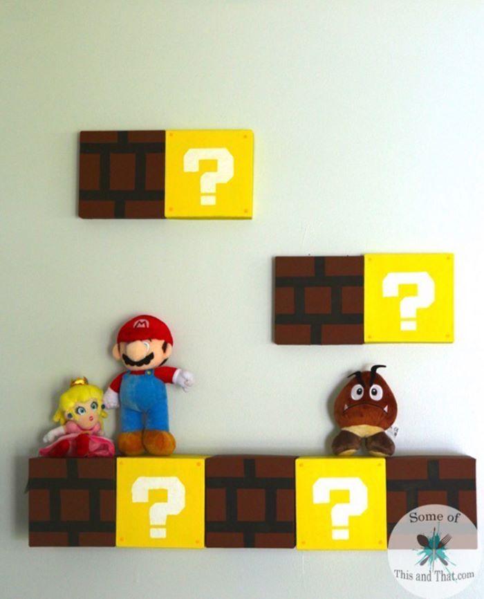 Mario brick wall themed shelves