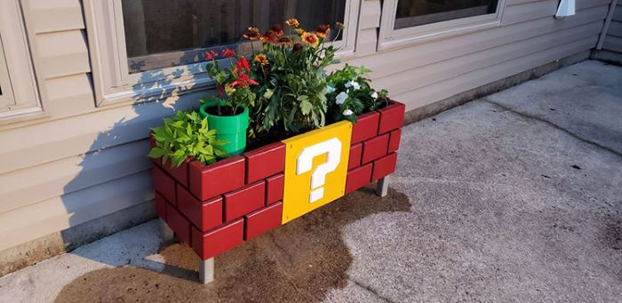 Super mario themed planter box