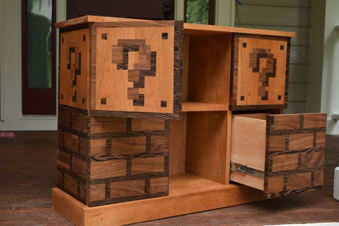 Super mario themed bookcase