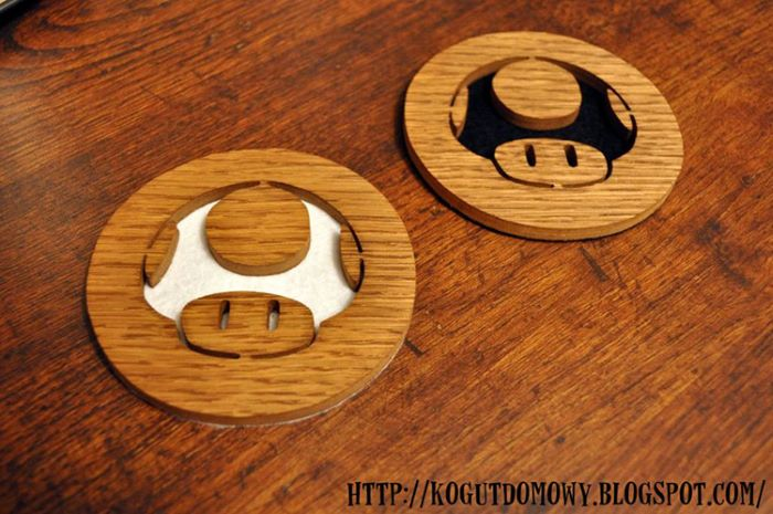 Mario mushroom design wooden coasters