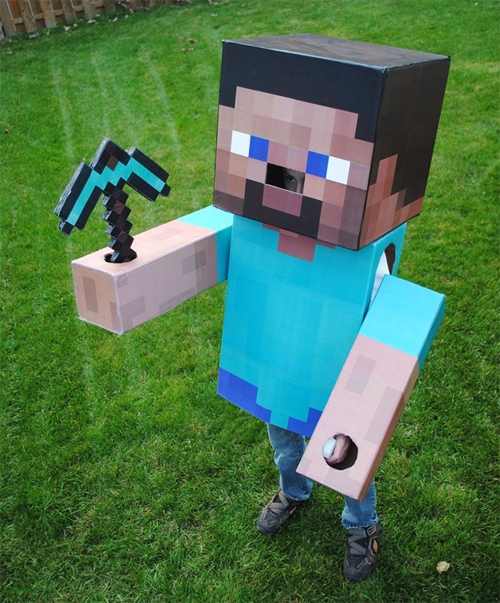 Minecraft steve costume diy
