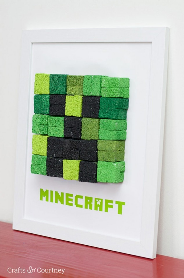 Easy minecraft diy wall art