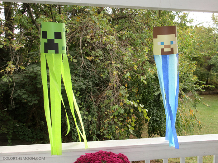 DIY minecraft windsocks
