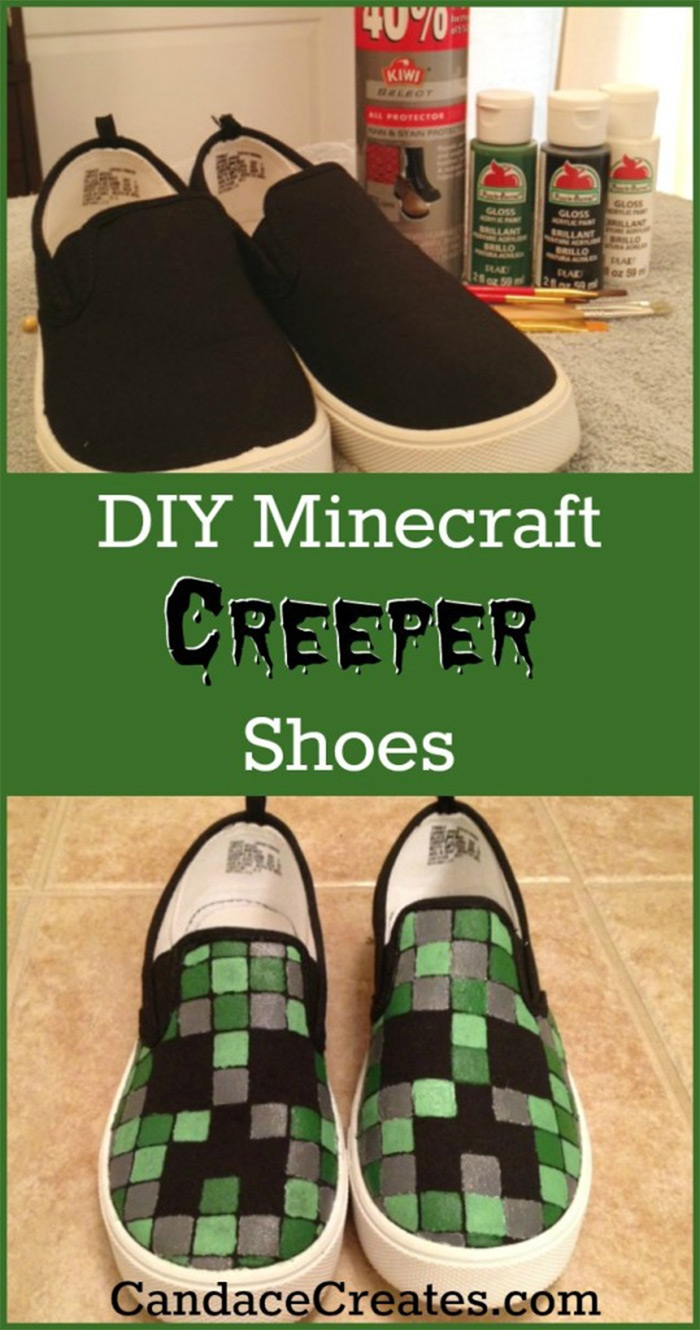 Creeper shoes styled minecraft