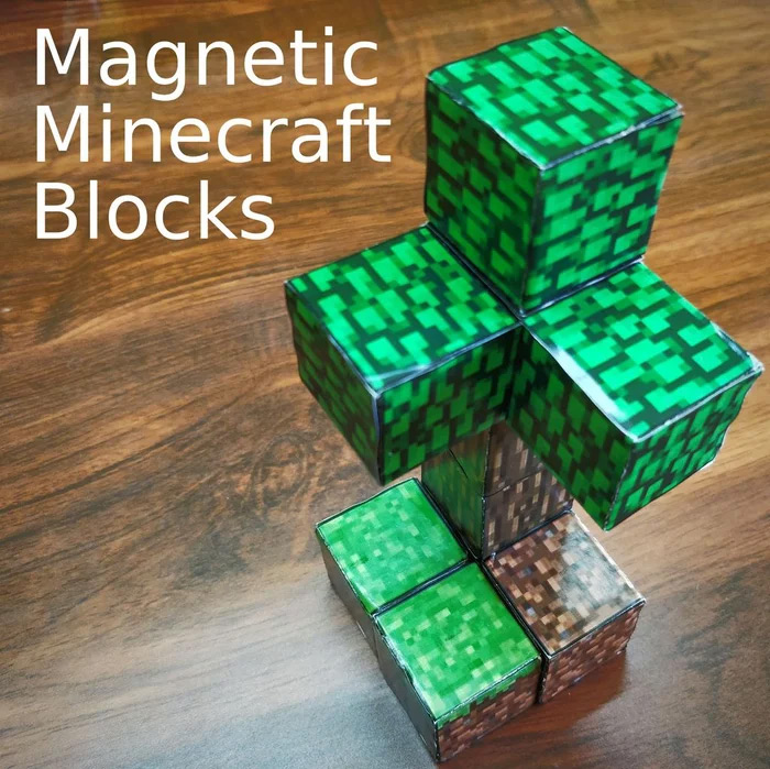 Magnetic minecraft blocks diy