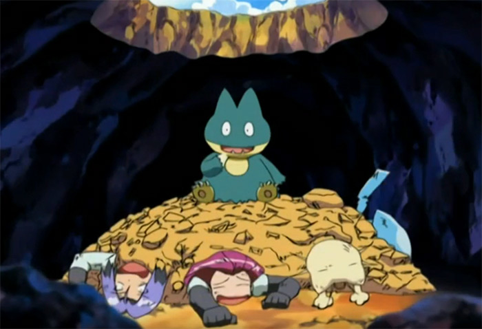 Munchlax on top of Team Rocket
