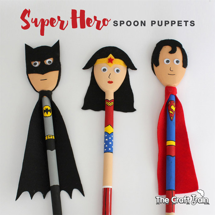 Superhero puppets with spoons