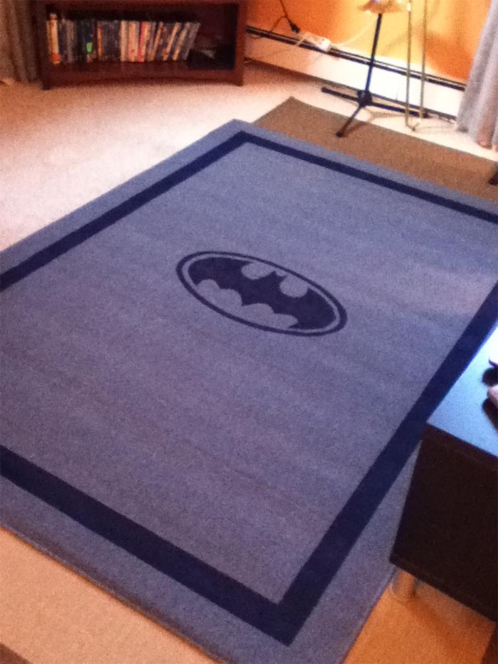 Custom batman painted rug