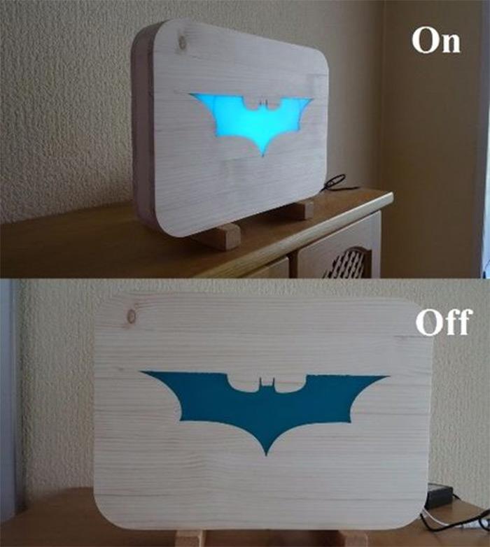 Batman glowing bat logo