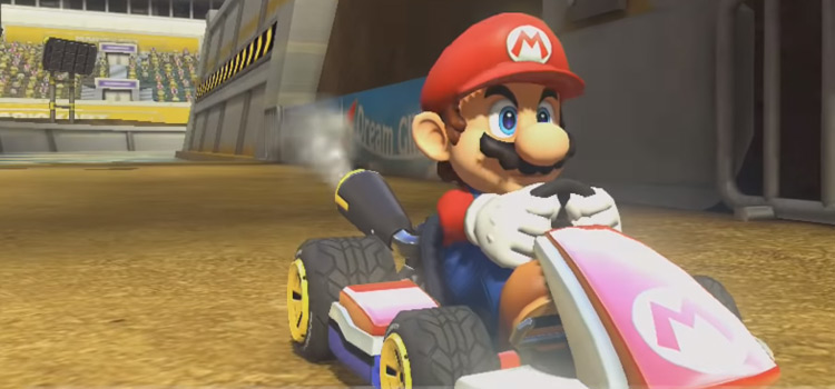 Mario ready to race in Mario Kart 8