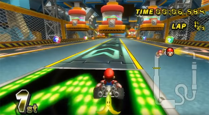 Toad's Factory level in Mario Kart