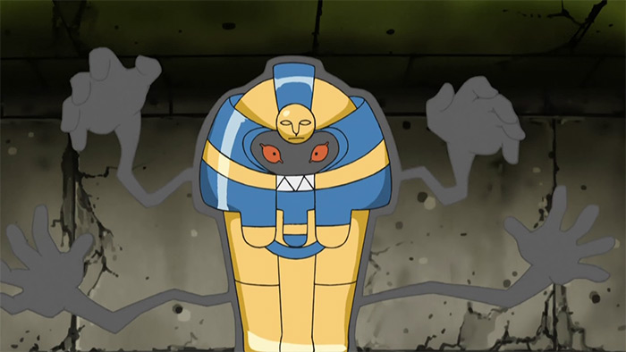 Cofagrigus coffin pokemon in the anime