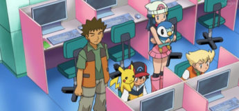 Pokemon anime - Ash using a PC computer