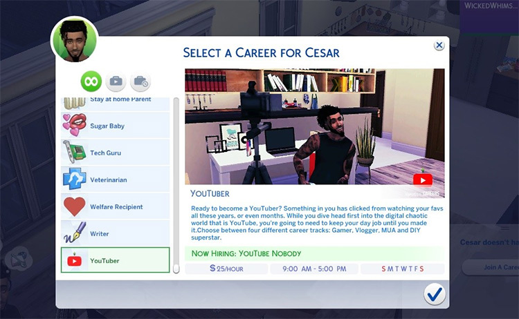 YouTuber Sims4 mod
