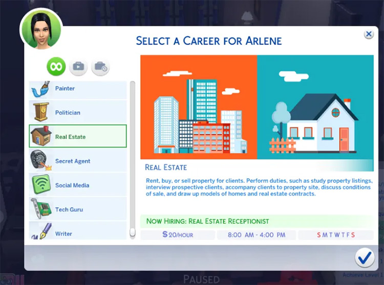 Real Estate career in Sims4