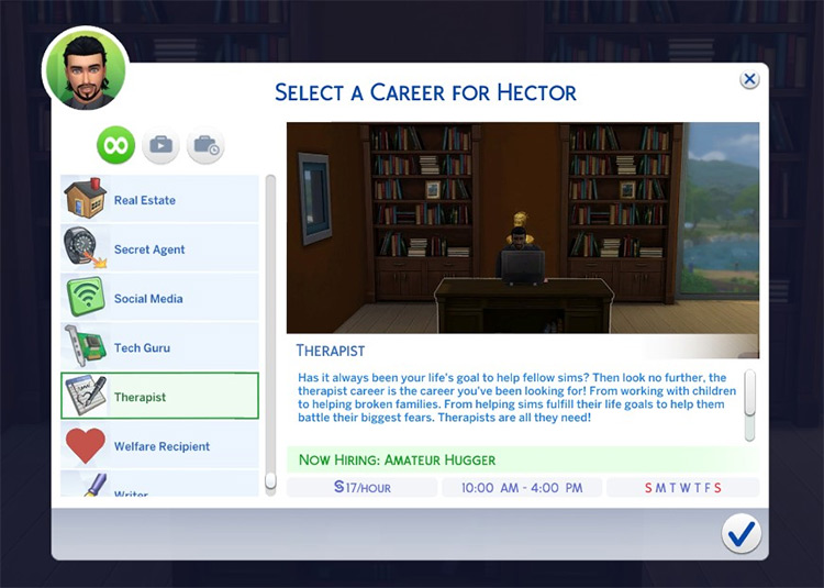 Therapist career mod in Sims 4