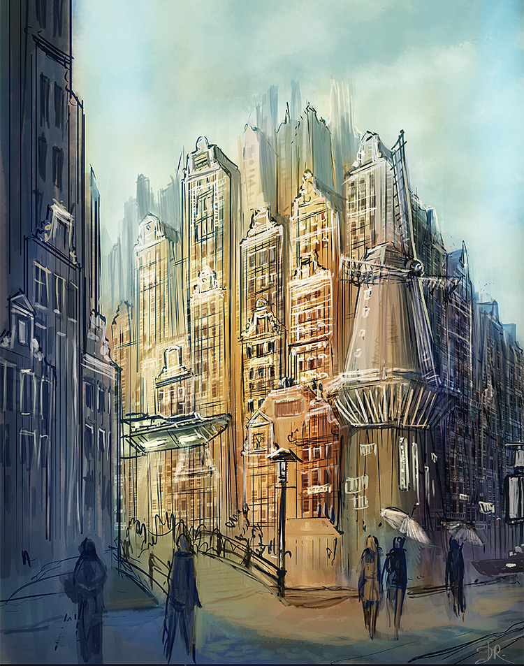 Amsterdam concept painting cityscape