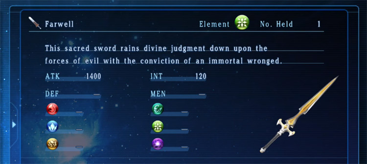 Farwell weapon in Star Ocean 5
