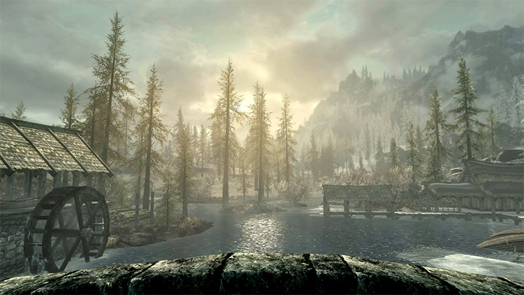 Morthal town in Skyrim