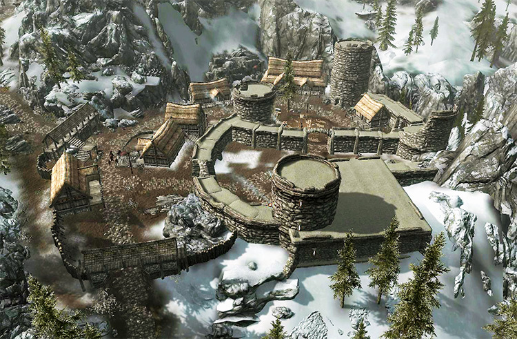 Helgen city in Skyrim