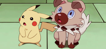 Rockruff sitting with Pikachu in the anime