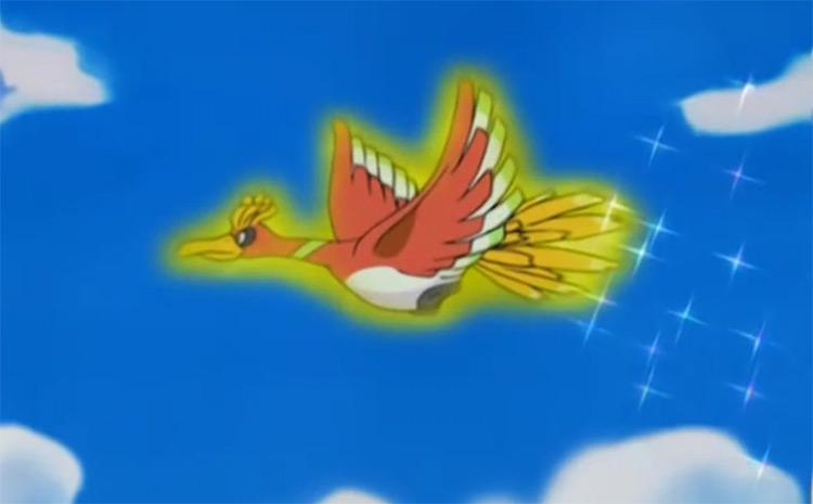Ho-Oh legendary bird, flying in the Pokemon anime
